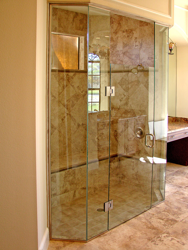 Frameless Shower Enclosures with U-Chanel | Emergency Glass Service