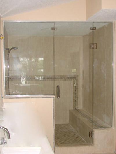 Frameless Steam Shower Door With Bench